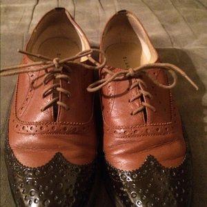 Blake Scott dark tan patent leather oxfords 7.5